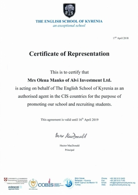 Certificate of Representation Alvi Investments